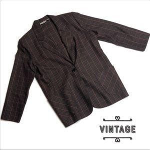 Vintage Working Petite Plaid Blazer Jacket Brown